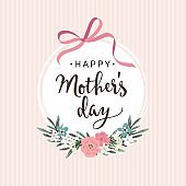 Mothers day greeting card, invitation with ribbon, flowers