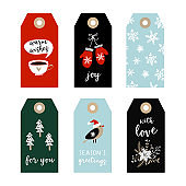 Set of cute Christmas gift tags, labels with bird, gloves, snowflakes and Christmas trees. Hand drawn illustrations, flat design. Isolated vector objects