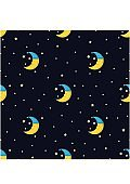 Good Night seamless pattern with cute sleeping moon and stars
