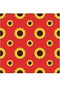 Sunflower with green leaves seamless pattern. Sunflowers on red background