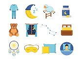 Sleep time icons set in a flat style. Collection nap night bedtime isolated on white background