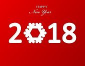 Stylish text design 2018 with snowflake for Happy New Year celebration. Red background paper