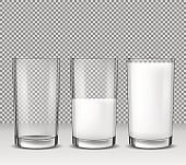 Set of vector realistic illustrations, isolated icons, glass glasses empty, half full and full of milk, dairy product