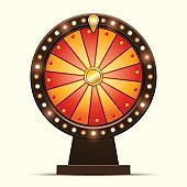 Vector cartoon illustration of a glowing wheel fortune or luck