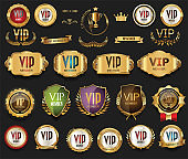 Golden VIP labels and badges collection