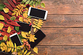 e-commerce autumn leaves wood background concept