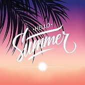 Summertime tropical background with hand drawn lettering Hello Summer, sunset and palm leaves.