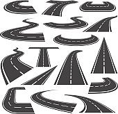 Curved roads icon flat style set