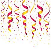 Streamers and confetti background vector
