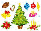 Christmas decorative elements vector background