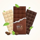 Vector Chocolate Package Bar Blank - Milk, White and Dark