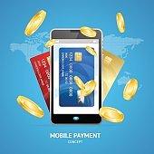 Realistic Mobile Phone Payment Concept with Credit Plastic Card and Golden Coins. Vector