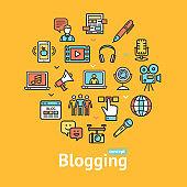 Blogging Color Round Design Template Line Icon Concept. Vector
