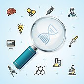Science Research Realistic Magnifier with Thin Line Icon Concept