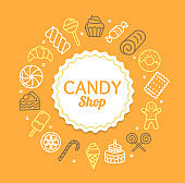 Candy Shop Color Round Design Template Line Icon Concept. Vector