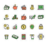 Money Finance Symbols and Signs Color Thin Line Icon Set. Vector