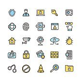 Data Security and Safe Icon Color Thin Line Set. Vector