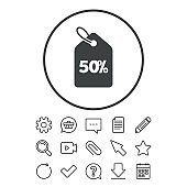 50 percent sale price tag sign icon.