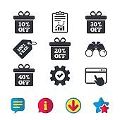 Sale gift box tag icons. Discount symbols.