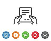 Hold Document line icon. Text File sign.