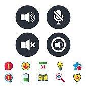 Player control icons. Sound, microphone and mute.
