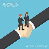 Isometric business people shaking hands on big handshake.