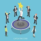 Isometric businessman jumping on the trampoline and catch the star