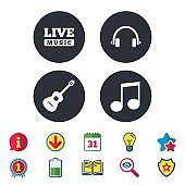 Musical elements icon. Music note and guitar.