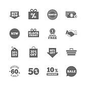 Set of Shopping, Sale and Discounts icons.