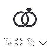 Wedding rings sign icon. Engagement symbol.