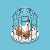 Isometric businessman working in the birdcage.