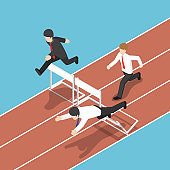 Isometric businessman running with obstacle in hurdle race.