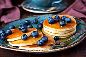 Dessert plate with pancakes and blueberry