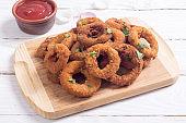 Homemade сrunchy fried onion rings