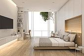 3d rendering beautiful loft minimal bedroom