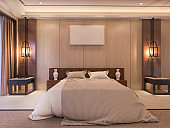 3d rendering soft and beautiful bed in luxury bedroom