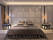 3d rendering classic bedroom with luxury decor  soft classic bed