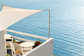 Beautiful balcony with sea view at Aegean sea, Greece