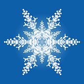 One Snowflake On Blue Background