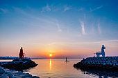 Lighthouse at Jeju Iho Beach.