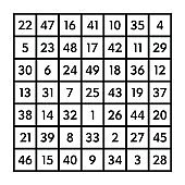 Magic square of order seven of the astrological planet Venus