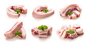 Collection of Pork on white background,Pork belly
