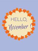 greeting card. Hello November.