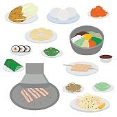 Set of korean food flat design elements. Asian street food menu. Traditional dish kimchi, dumplings, noodle and bibimbap