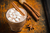 Hot chocolate with marshmallow on the wooden background
