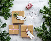 Christmas gift boxes with gift tags
