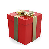 Christmas Gift Box, Red Box With Golden Ribbon And Golden Bow