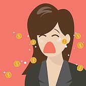 Woman crying out in money tears