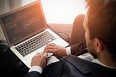 Businessman Using Laptop Working Thinking