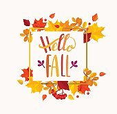 Hello Fall lettering in autumn leaves frame.